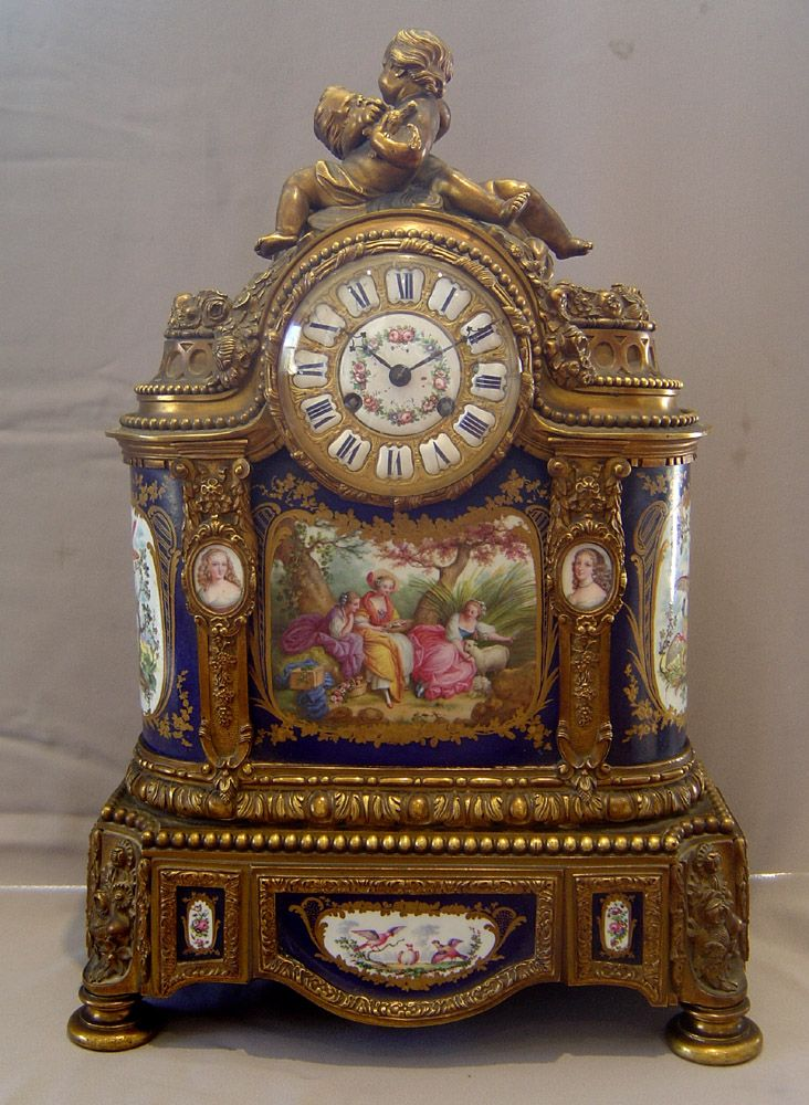 Antique French porcelain and ormolu mantle clock with painting after Boucher. - Gavin Douglas Antiques