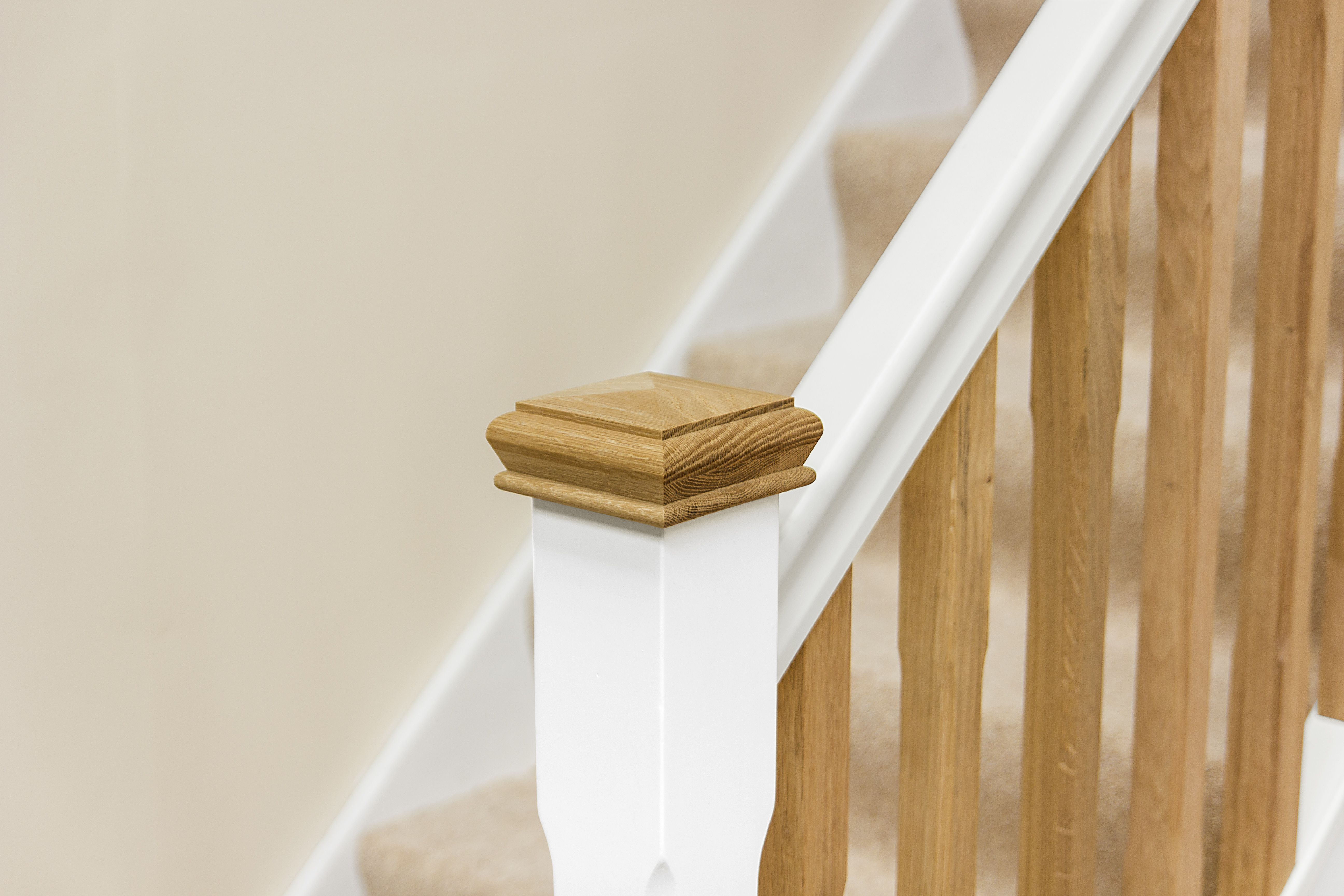 White Primed Handrail With Oak Spindles Handrail Design Oak   White Handrails For Stairs Interior   Grey Treads   Safety   Richard Burbidge   Ship Lap   Aluminum