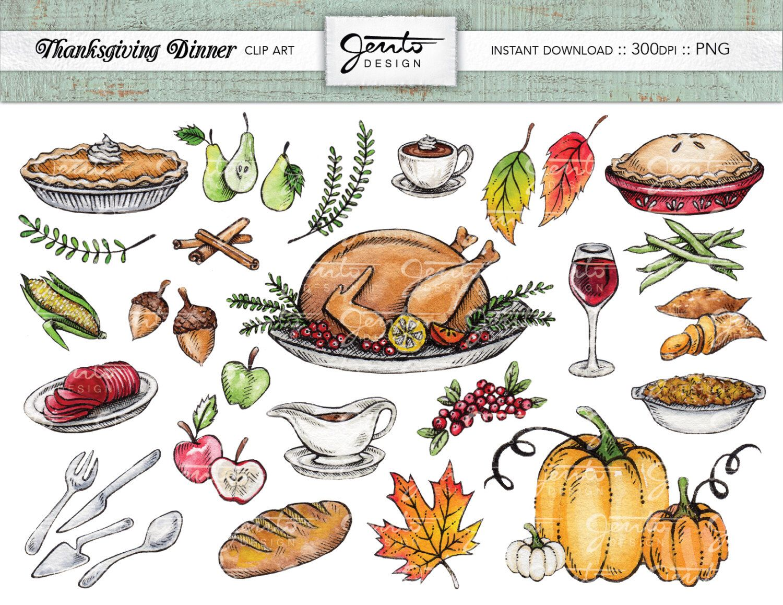 Thanksgiving Dinner Clip Art Set Turkey Pumpkins Acorns Laurel Leaf Apple Pie Wine Stuffing Cinnamon Instant Do Clip Art Thanksgiving Drawings Art Set