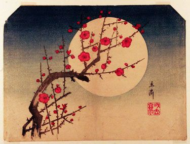 Japanese woodcut: cherry blossom and moon. A haiku for the eyes.