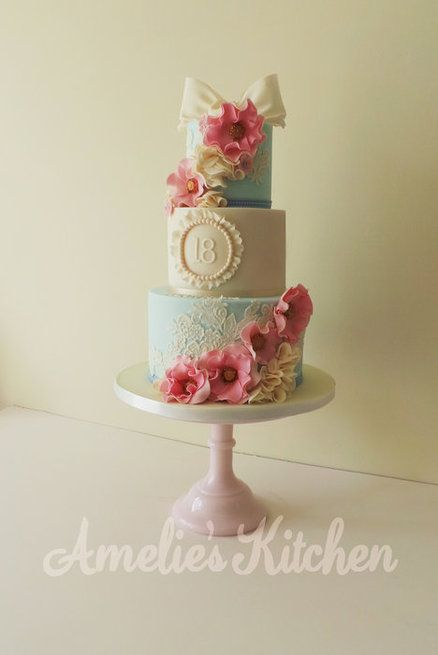 Vintage style 18th birthday cake by helen ward for 18th cake decoration