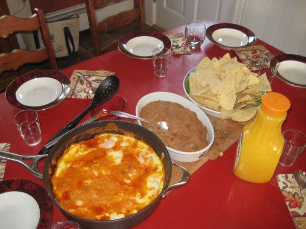 Saturday Breakfast. Mexican Eggs and all the trimmings make a fun eay breakfast to relax over.