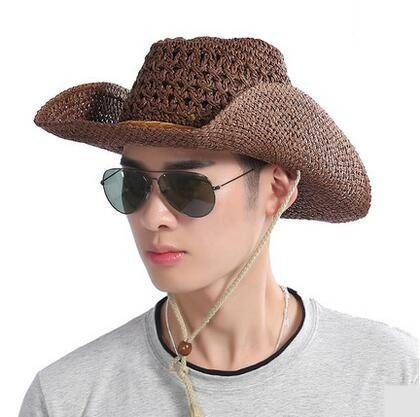 a584ec036db Coffee straw cowboy hat for men UV protection sun hats with strings Panama  Hat