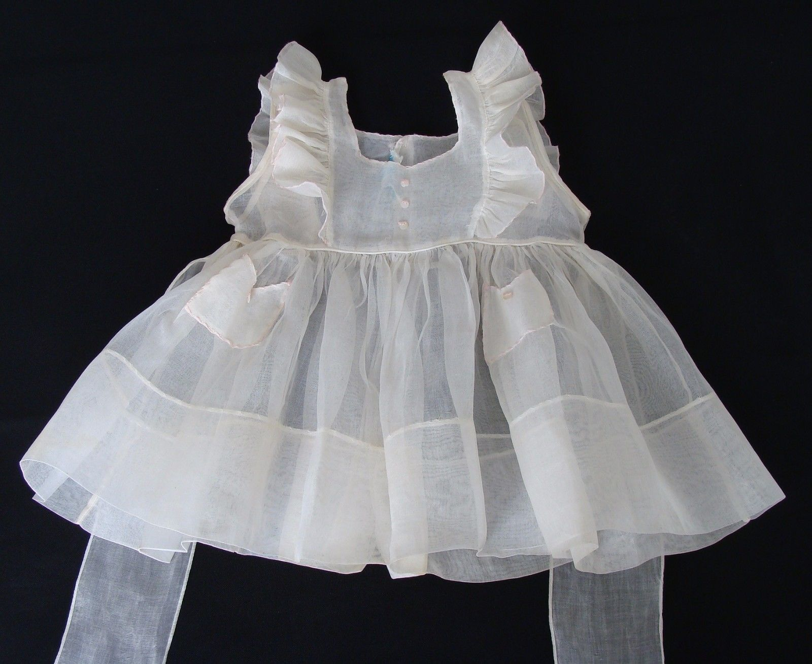 Vintage 1950s Sheer Cotton Organdy Girls Pinafore Dress A