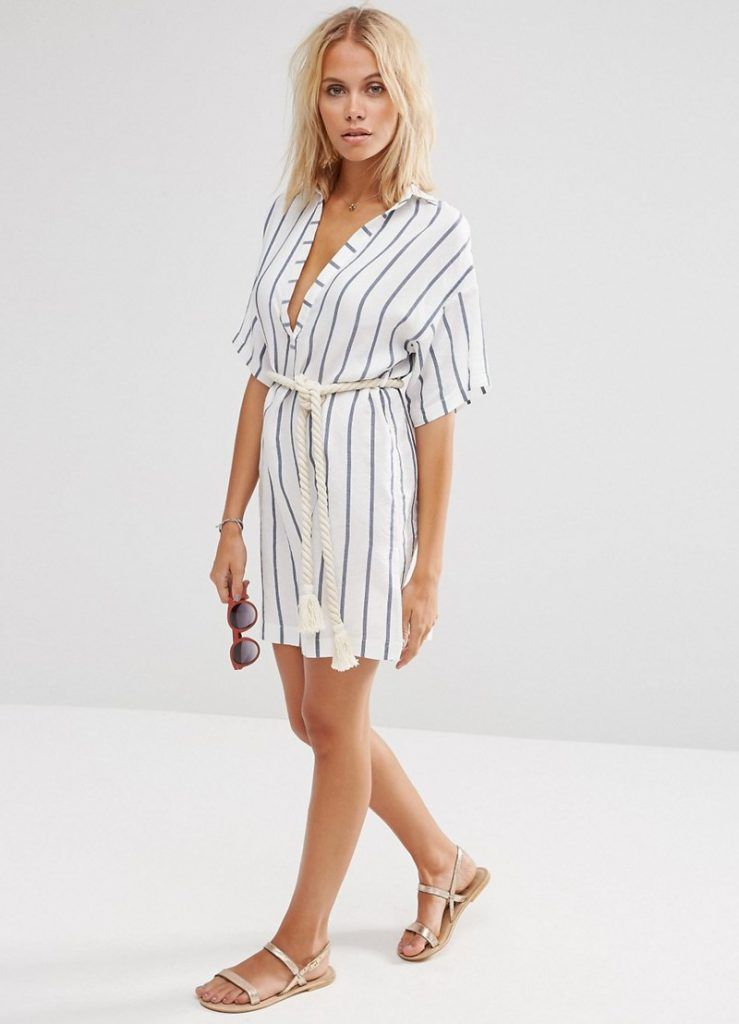 7b8a77d4d5e Полосатое платье-рубашка в морском стиле Camisas