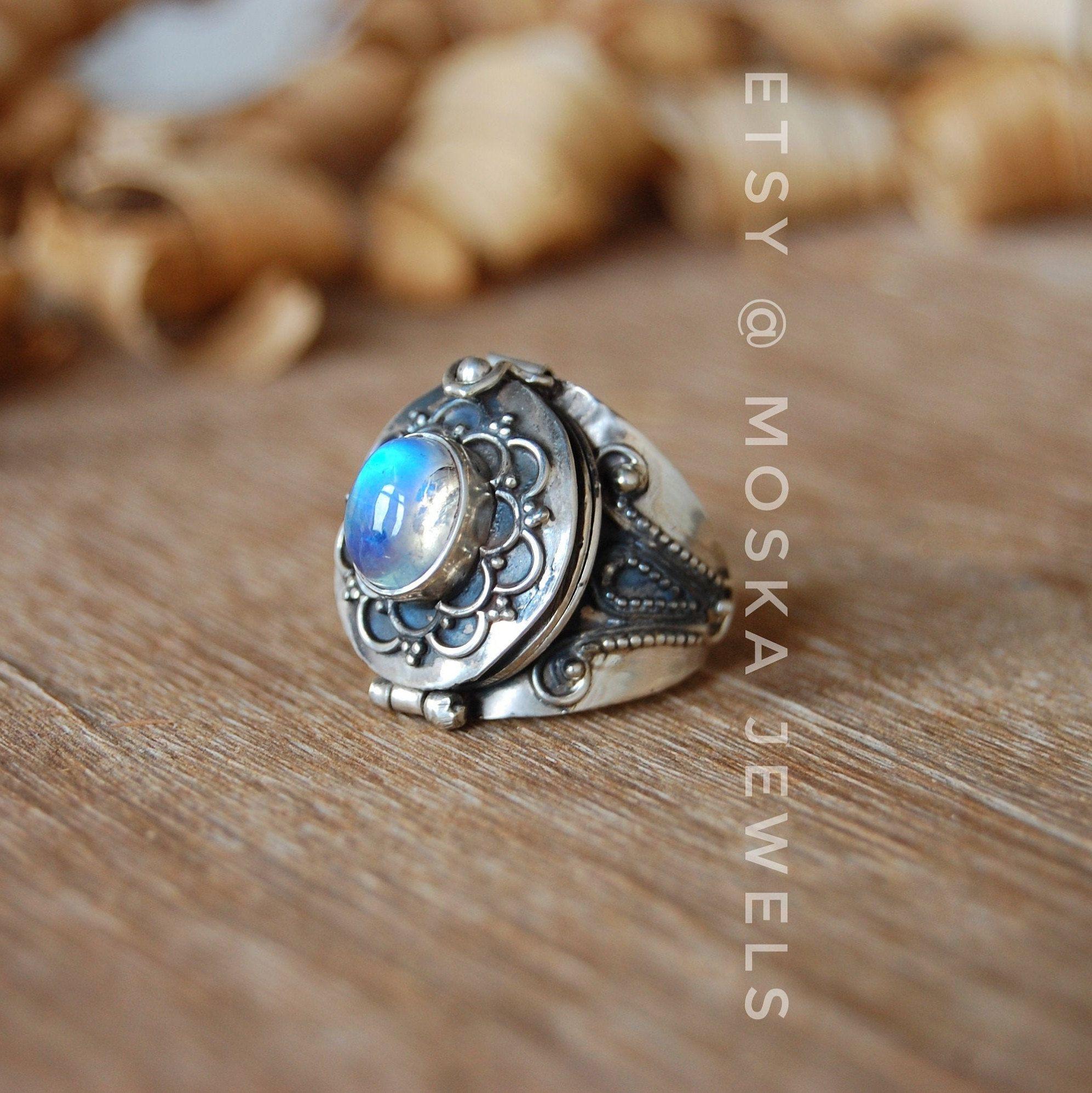 Gift for HimHer Handmade Poison Ring Designer Ring Moonstone 925 Sterling Silver Rings