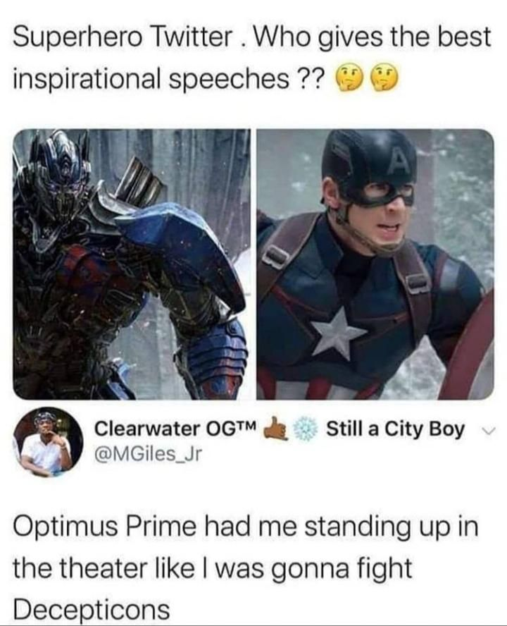 In my opinion, yeah optimus gives the best speech