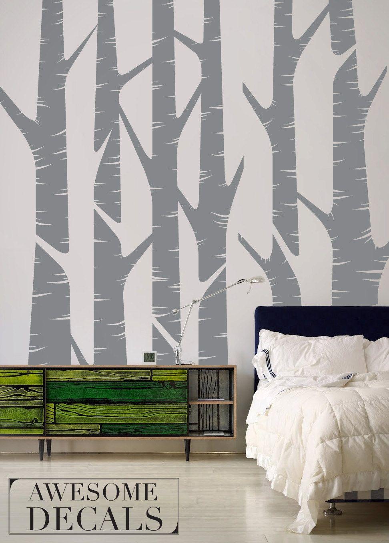 Birch Tree Wall Art - Large Wall Decal - Living Room Decal - Custom ...