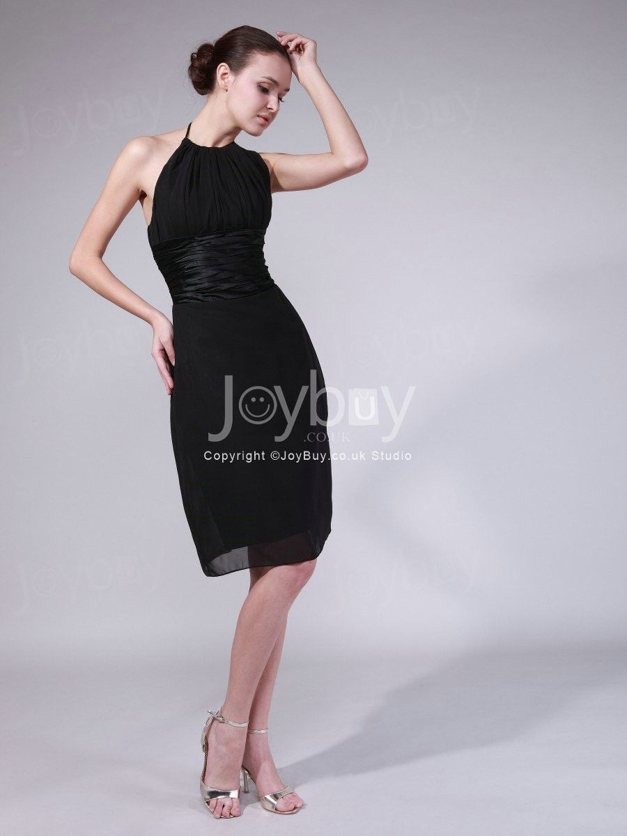 Halter Chiffon Column Knee Length Black Cocktail Dresses £108 | Sexy ...