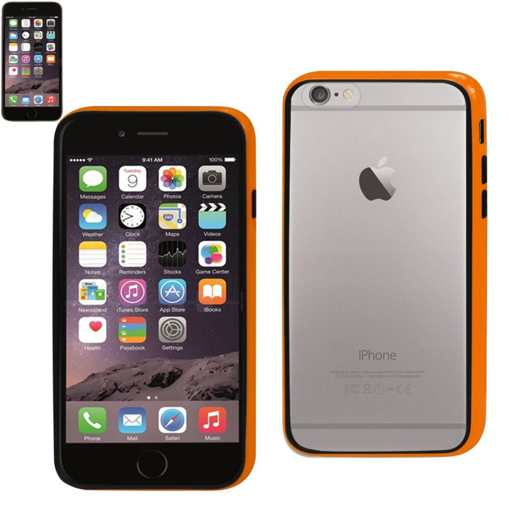 Reiko Orange TPU Bumper+Clear Pc Back Cover For Iphone 6/6S 4.7Inch With Tempered Glass Screen Protector