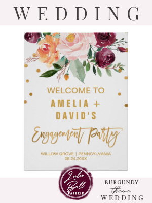 Autumn Floral Engagement Party Welcome Poster | Zazzle.com #dressesforengagementparty