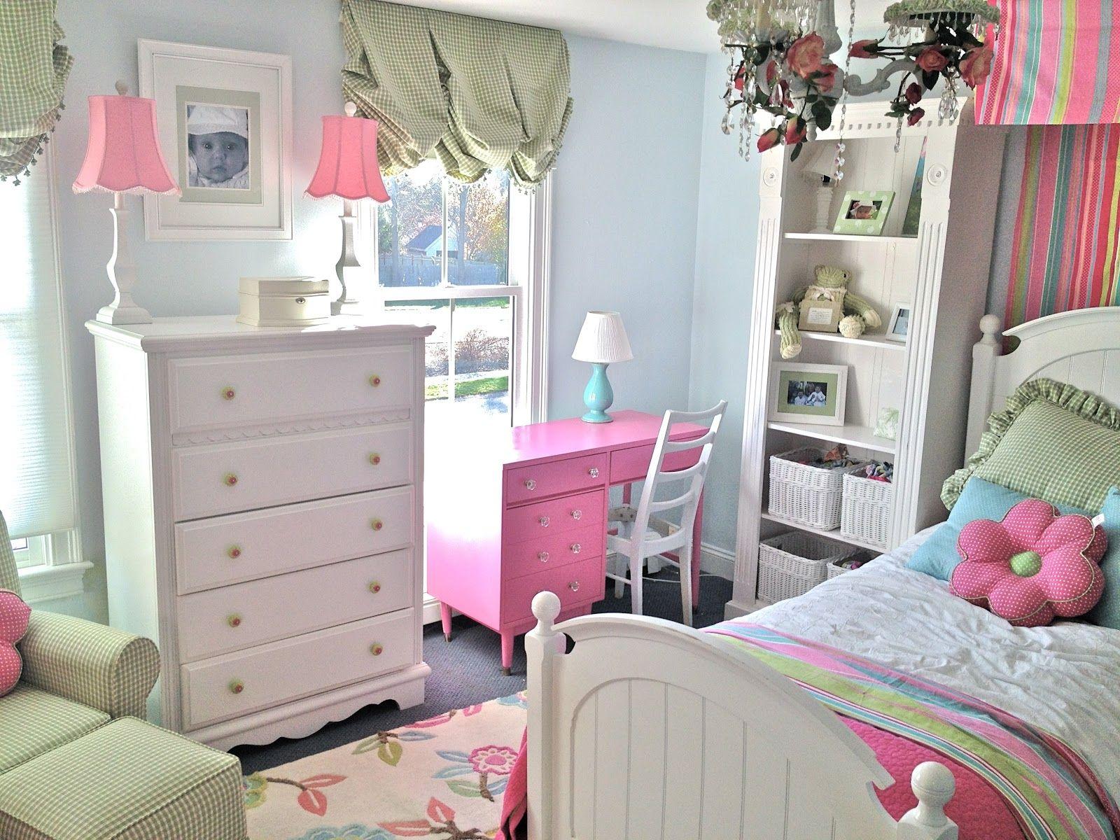 Bedroom For Girl Interior Design Bedroom Light Blue Wall Paint Pink Desk Lamp On White Drawer