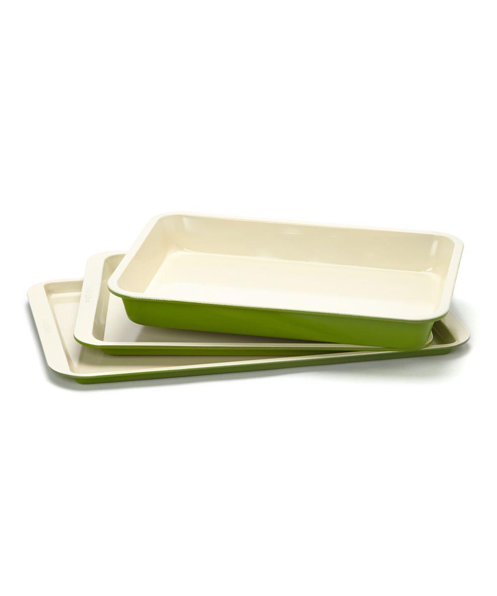 Green Ceramic Baking Pan Set