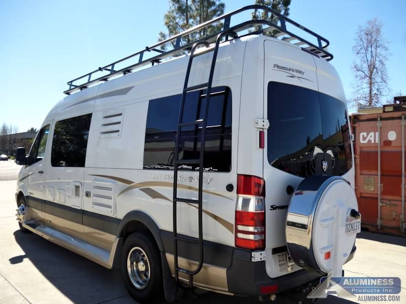 00810e5f43 Aluminum Roof Rack and Ladder for the Mercedes Sprinter Pleasureway ...