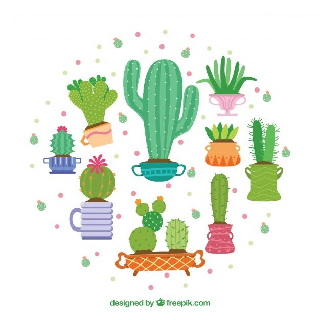 Coleccion De Cactus Bonitos Vector Gratis Estampas Ideas - Cactus-bonitos
