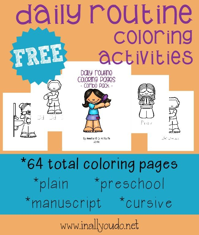 Super CUTE Daily Routine Coloring Pages | Pinterest | Help teaching ...