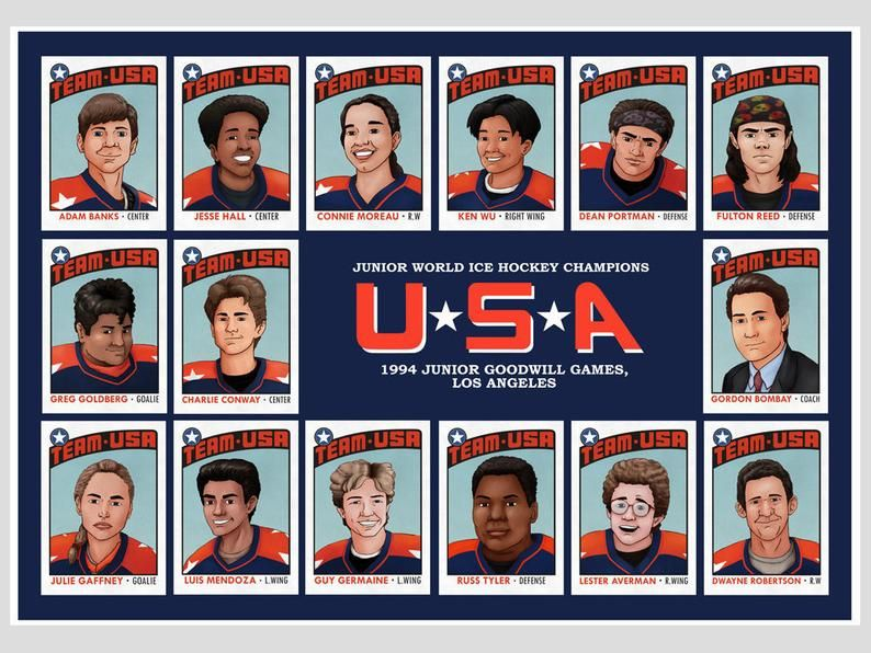 Mighty Ducks D2 Print, Team USA Trading Cards, Sports Movie Memorabilia, Amateur Ice Hockey, 90s Disney movie print