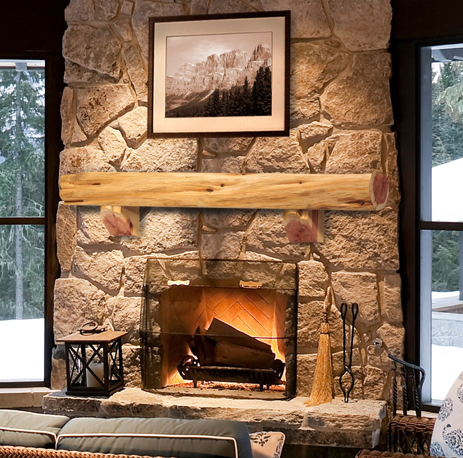 Cedar Log Fireplace Shelf Mantel With Images Pearl Mantel