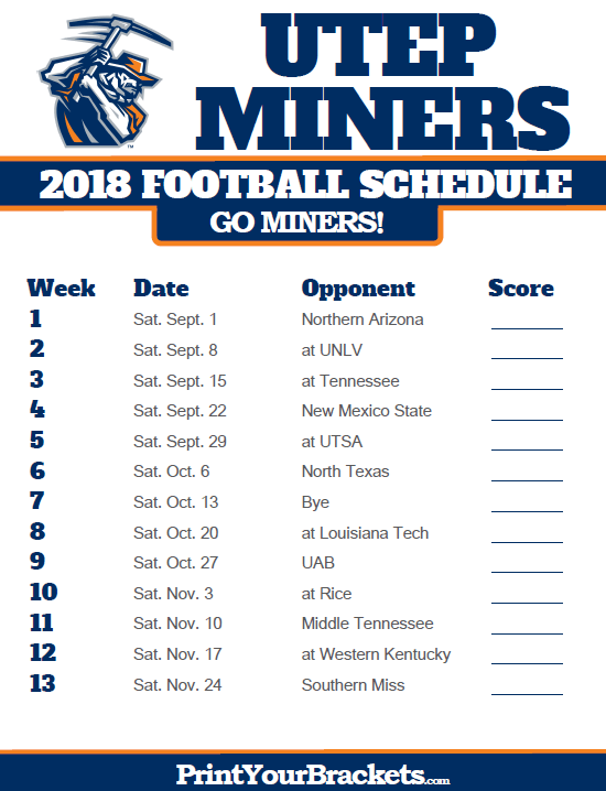 2018 Printable Utep Football Schedule Football Schedule College Sports