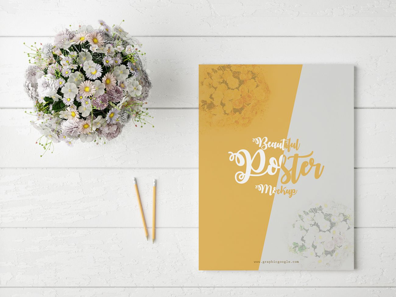 Poster design mockup - Get The Best And Free Beautiful Poster Mock Up With Glamour Flowers Showcase Your Beautiful Poster Designs By Using This Poster Mock Up