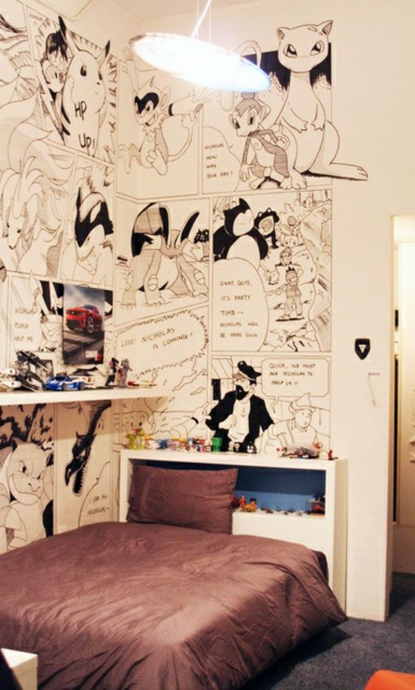 30 ideen f r kinderzimmergestaltung kinderzimmer comicalben gestalten ideen deko wand helden m. Black Bedroom Furniture Sets. Home Design Ideas