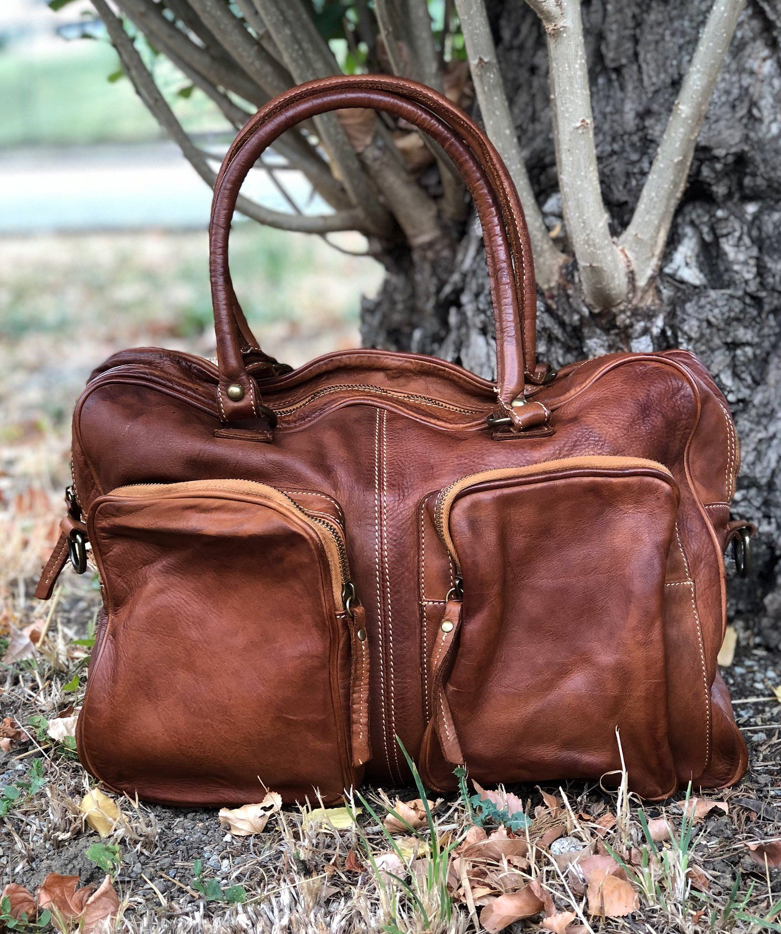 Borsa tasconi esterni in Pelle Vintage Fury Bags | Borse