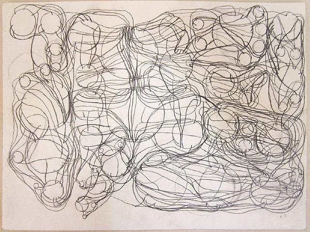 """Atsuko Tanaka (b.1932 - d.2005, Japan), """"Untitled"""", Pencil on Paper, Size: 10.8 x 14.3 inches, (1984)."""