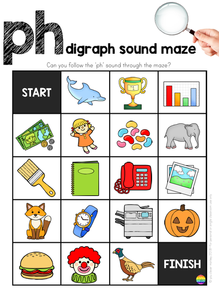 Digraph Sound Mazes I Spy Games Ch Ph Sh Th Wh Sound Bundle Digraph Digraphs Activities Grammar For Kids