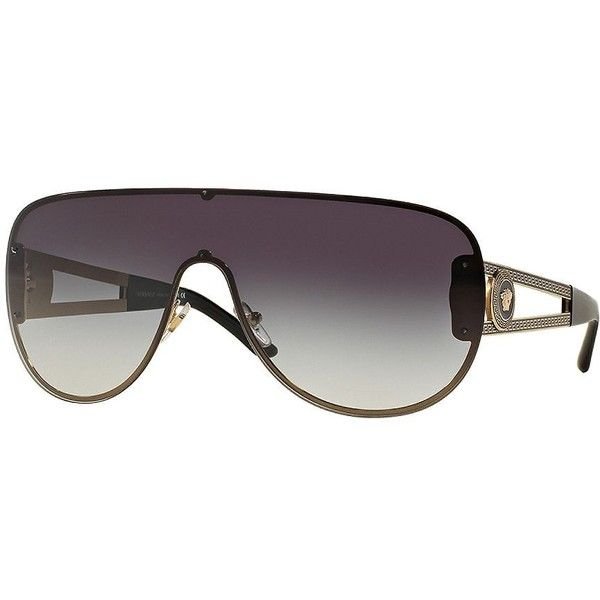 378e50258f0a3 Versace Vintage Vanitas 41mm Mirrored Shield Sunglasses ( 220) ❤ liked on  Polyvore featuring accessories