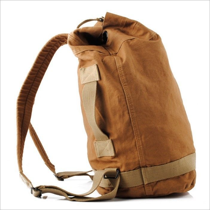 Men Military Vintage Canvas Leather Travel Backpack Luggage Bag Hiking  Backpack