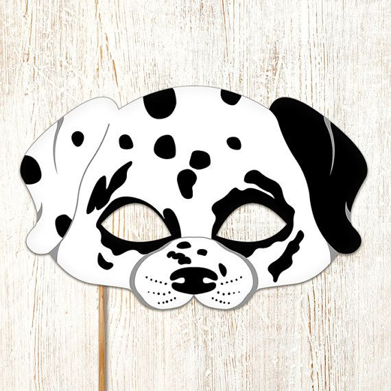 Dalmatian dog mask printable animal childrens halloween for Dog mask template for kids