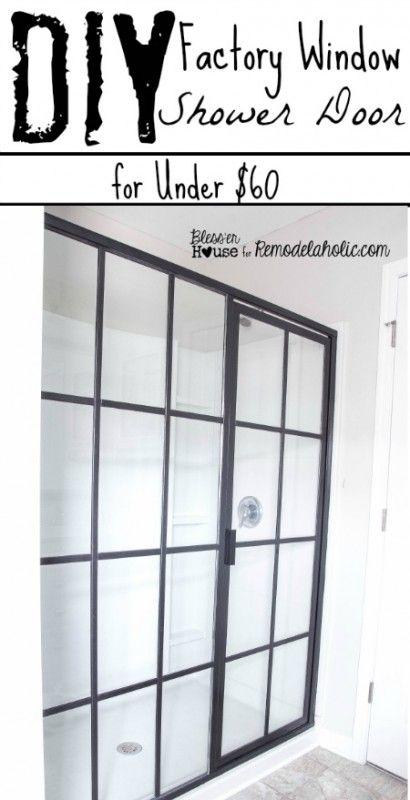 DIY Industrial Factory Window Shower Door (Remodelaholic)   Shower ...