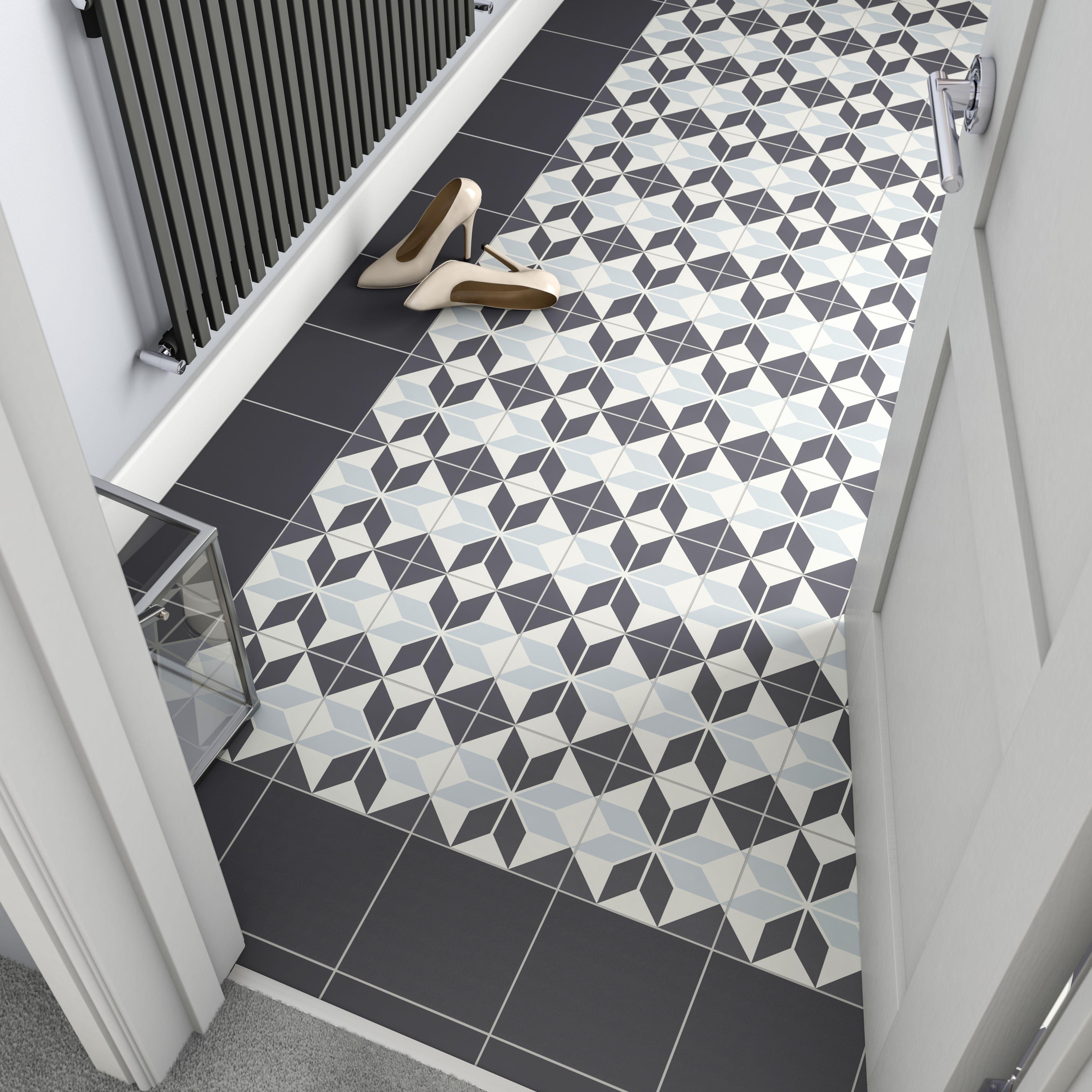 Hydrolic Black White Matt Porcelain Floor Tile Pack Of 25 L 200mm W 200mm Porcelain Flooring Porcelain Floor Tiles Tile Floor