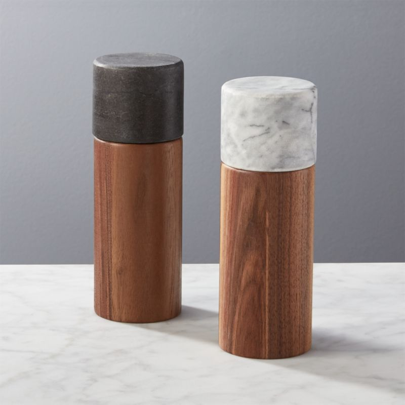 2-Piece Walnut and Marble Salt and Pepper Grinder Set of 2 + Reviews   CB2