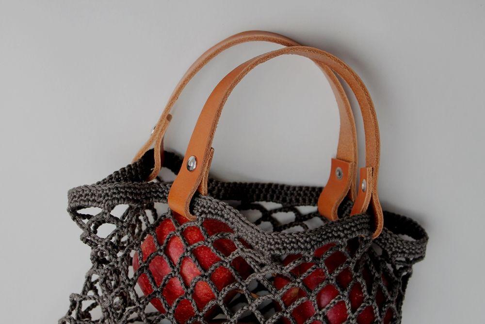 Netz Mit Lederhenkeln Ledergriffe Lederhenkel Einkaufsnetz Leder