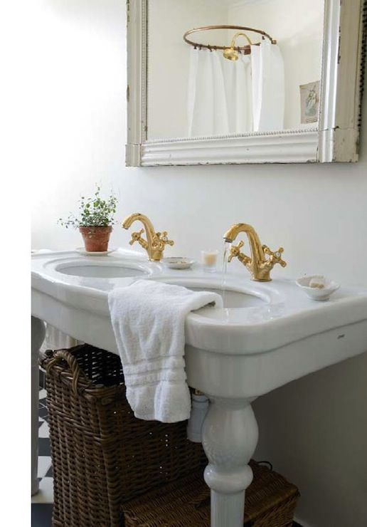 Swedish Bathroom With Glossy White Double Parisian Pedestal Sink