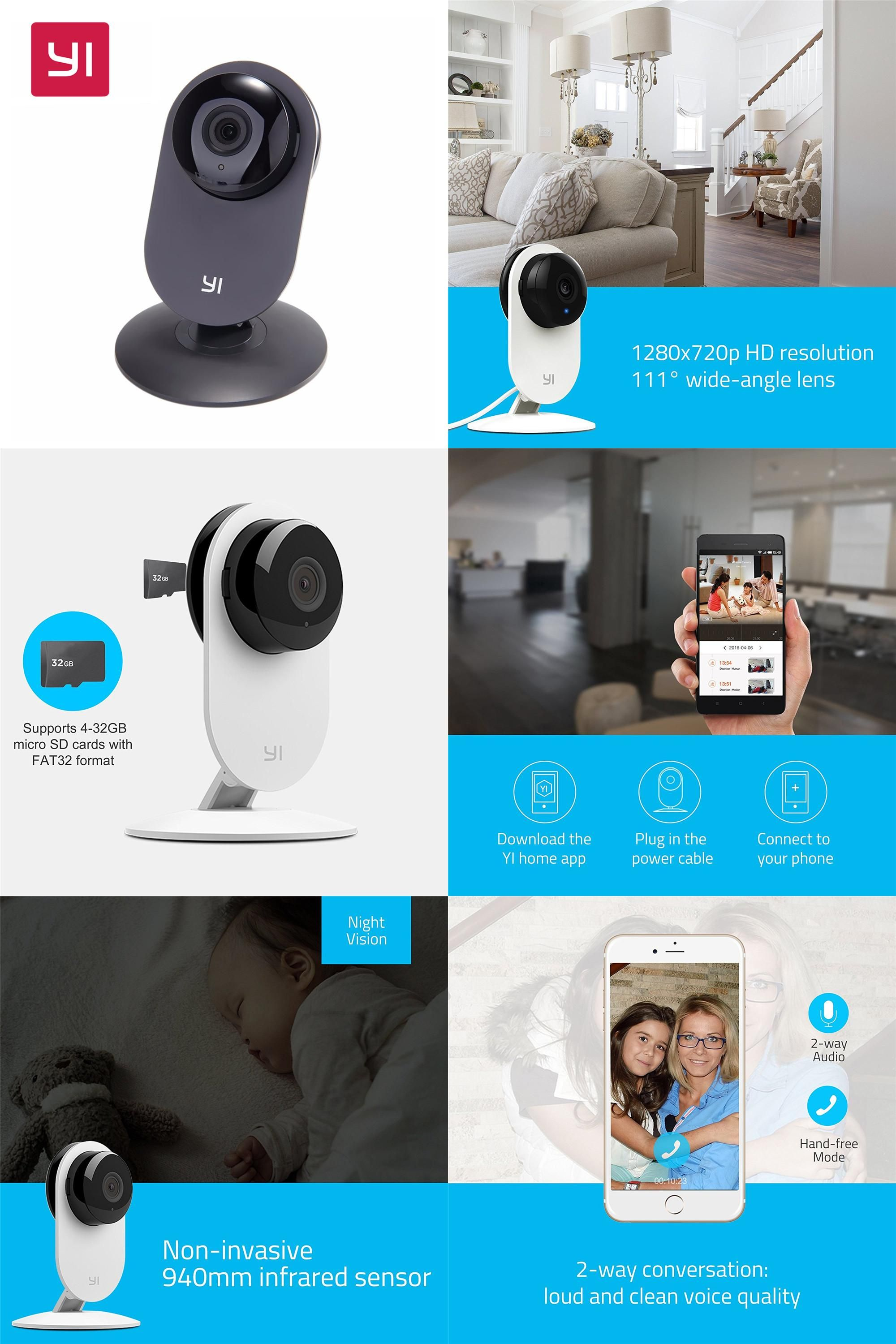 Visit to Buy] YI Home Camera 720P Night Vision Video Monitor IP ...