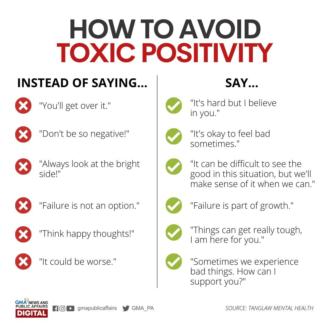 Alternate phrases to avoid toxic positivity #CoolGuide | Mental and emotional health, Emotional health, Positivity