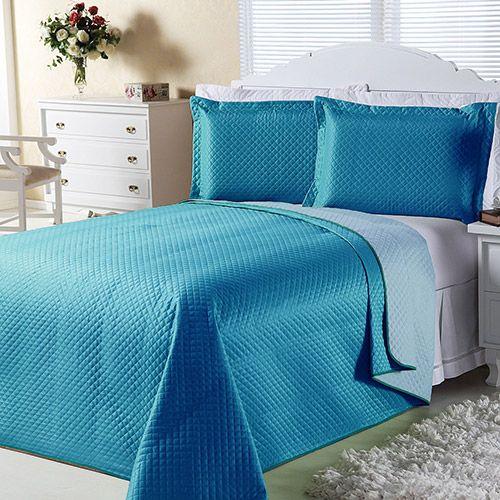Cobre-leito Dual Color Casal com 2 Porta-travesseiros Azul Turqueza e Azul Claro Orb