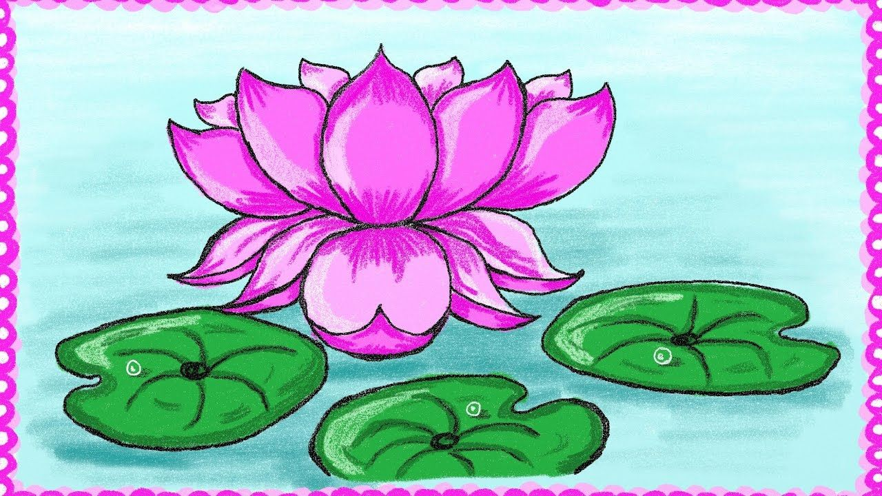 Drawing a simple lotus flower | How to draw lotus ...