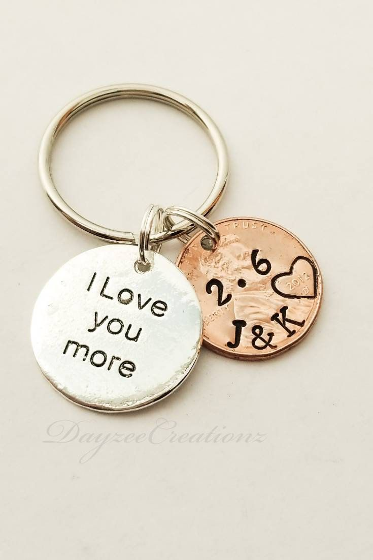 Personalized Penny Keychain, Anniversary Gift for Men, Girlfriend, Boyfriend Gift, Husband, Wife, for Him, Her, Valentine's Day, 1st