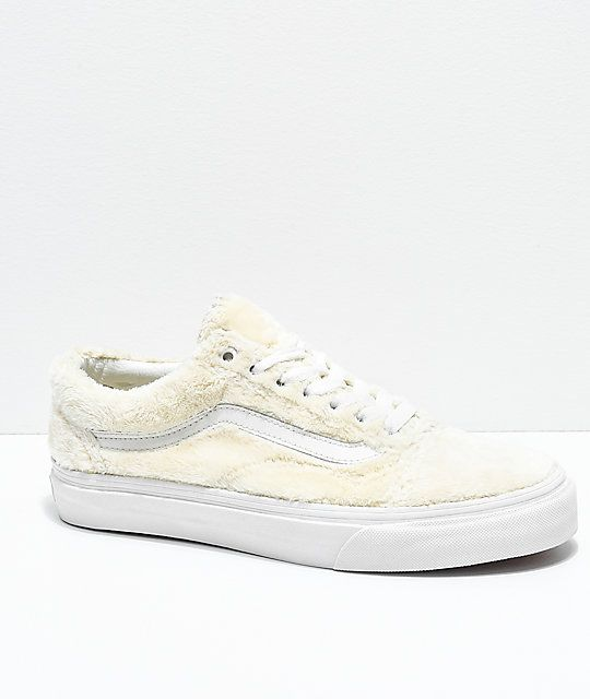 cc4d582b90 Vans Old Skool Turtledove White Sherpa Skate Shoes