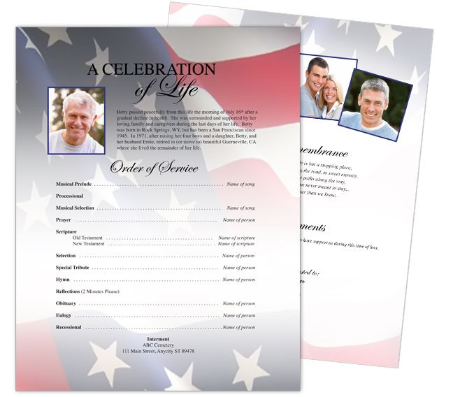 One Page Flyer Sheets US Flag One Page Funeral Stationary - funeral flyer template