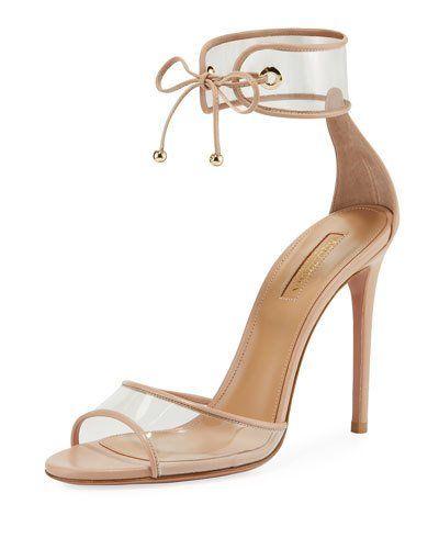ea6aebdfbc Aquazzura Optic PVC 105mm Sandal | Products | Nude heeled sandals ...
