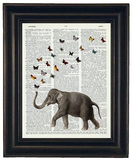 BOGO 1/2 Off Sale Dictionary Art Print  ELEPHANT Art A HHP Original Design Ellie the Elephant with her Butterflies Print on a  Dictionary by HamiltonHousePrints on Etsy https://www.etsy.com/listing/97607177/bogo-12-off-sale-dictionary-art-print