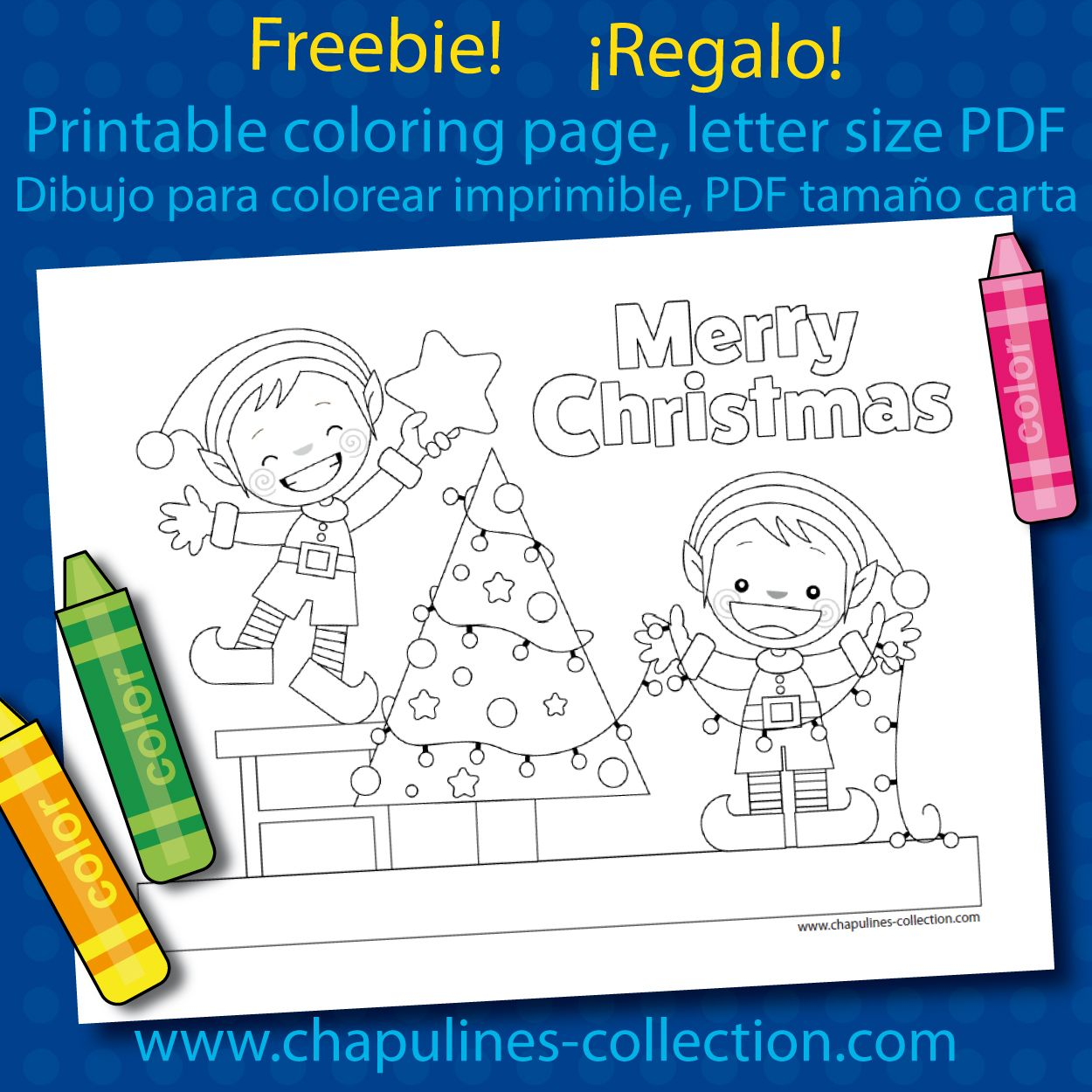 Chapulines Collection Freebie: Christmas coloring page! | DUENDES ...