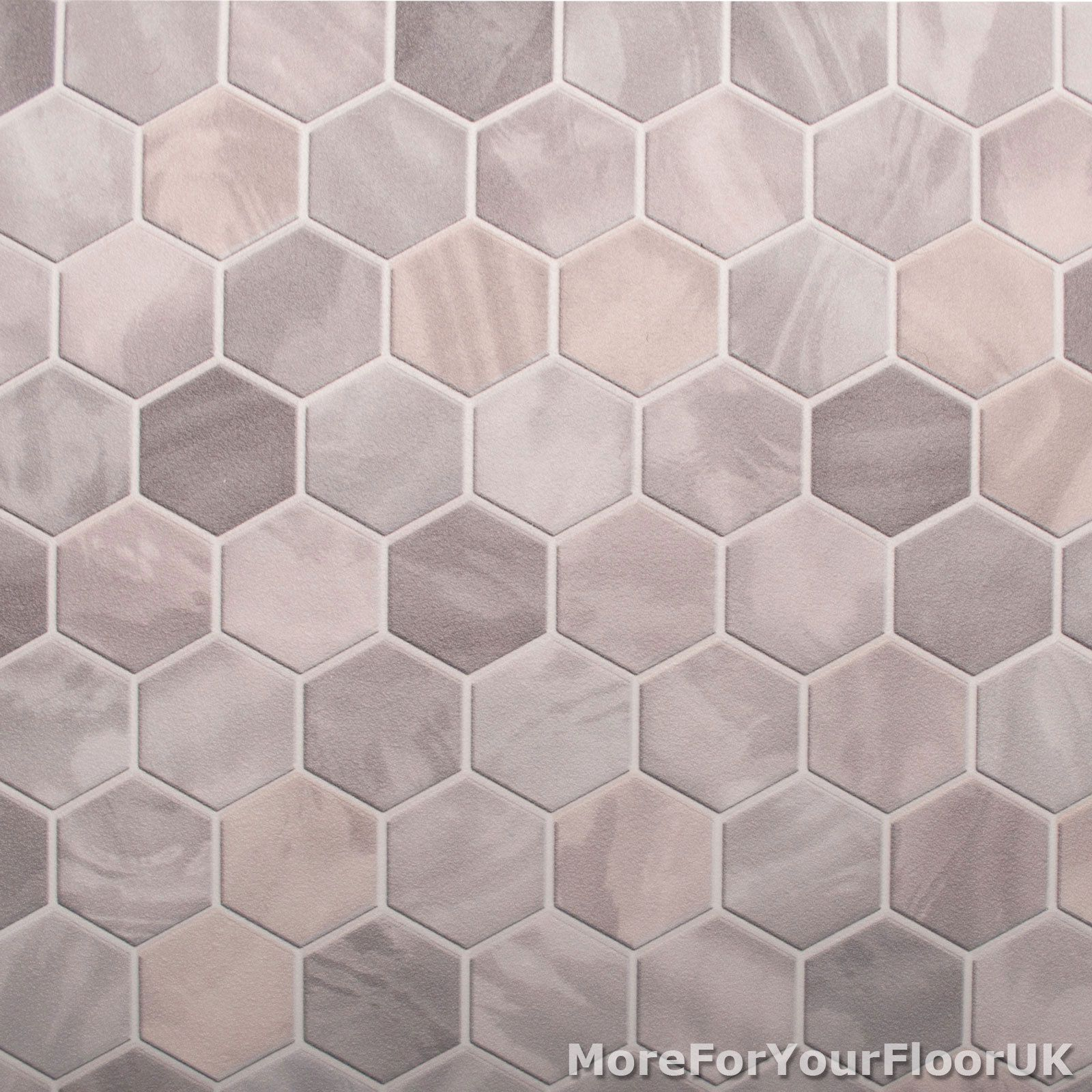 Mm Thick Vinyl Flooring Realistic Warm Grey Hexagon Tile Effect - Cheapest place to buy vinyl flooring