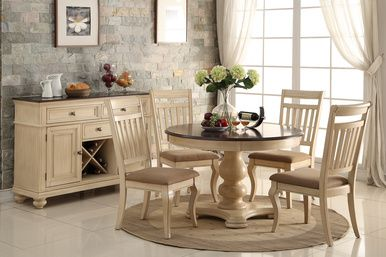 Timeless Two Tone Off White Brown Cherry Dining Table Set Featuring Country Style In Two Tone Round Dining Room Sets Round Dining Table Sets Round Dining Room