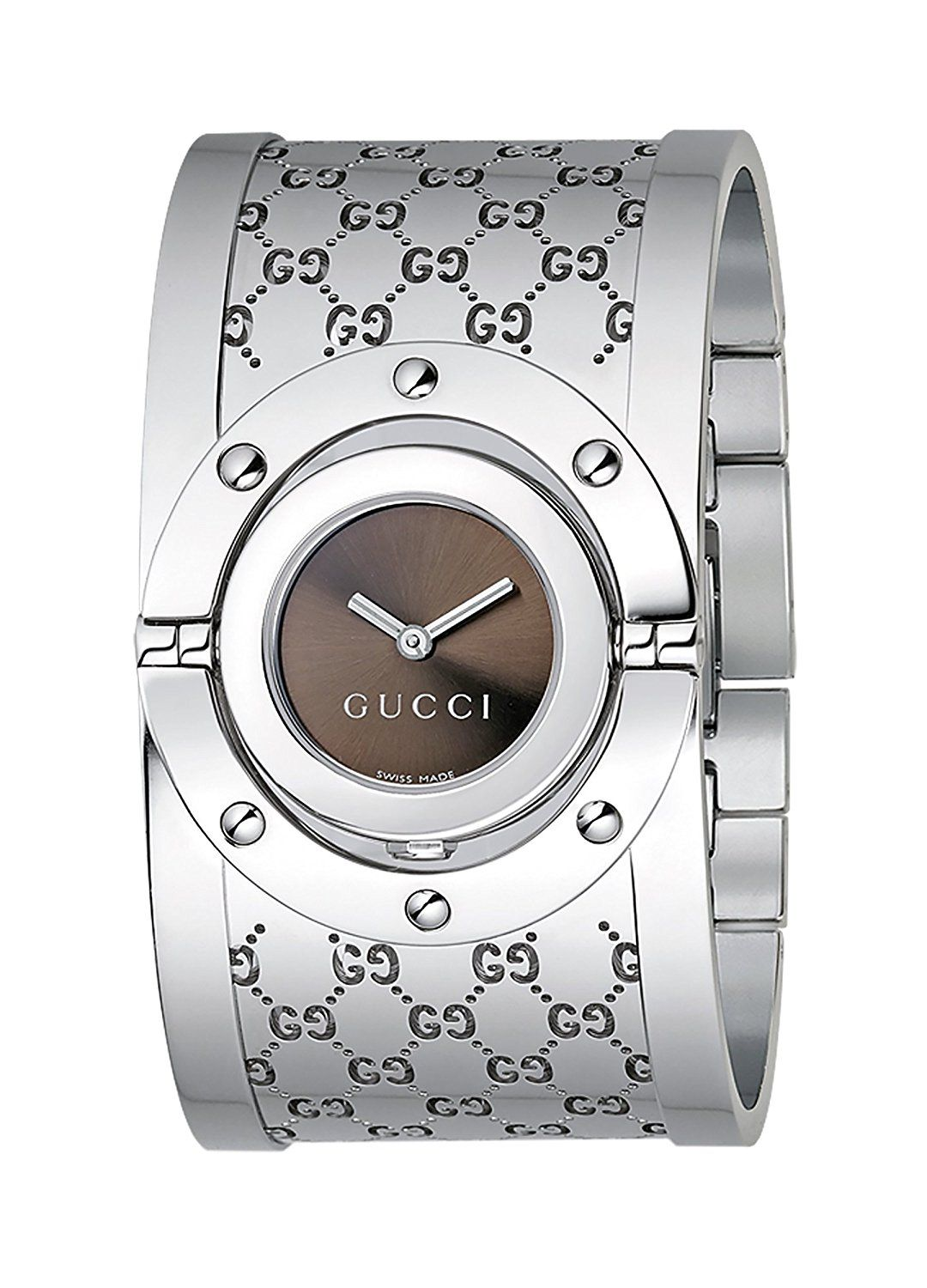 2204d5ad68d Gucci Twirl Collection Women s Quartz Watch with Brown Dial Analogue  Display and Stainless Steel Bangle YA112401