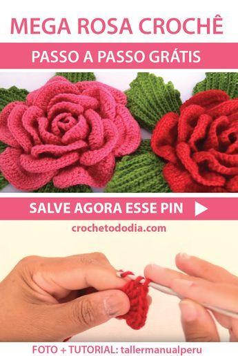 Mega rosa croche passo a passo para voce aprender e compartilhar com as amigas. Acesse o blog crochetododia.com e compartilhe. #croche #crochet #modacrochet #manualidades #artesanato #trabalhomanual #flordecroche #flor #mulher